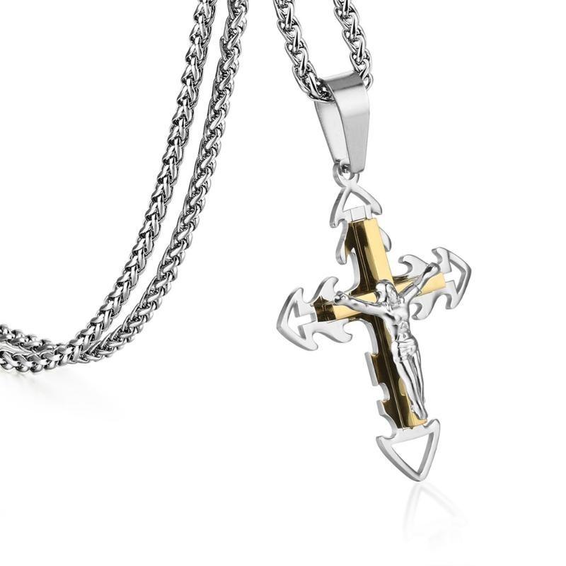 2020 New Punk Chaînes en acier inoxydable Croix-Fléchées Crucifix collier pendentif homme Bijoux Or Argent Couleur MN199