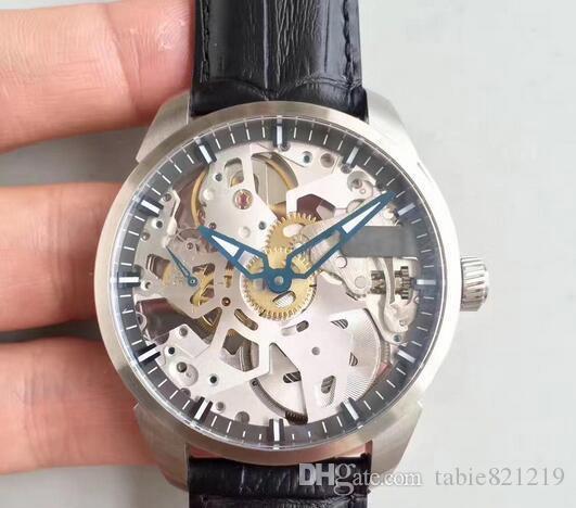 식탁 시계는 T-합병증 Squelette 시계 스테인레스 스틸 해골 블랙 가죽 스트랩 기계 매뉴얼 와인딩 시계 다이얼 제공