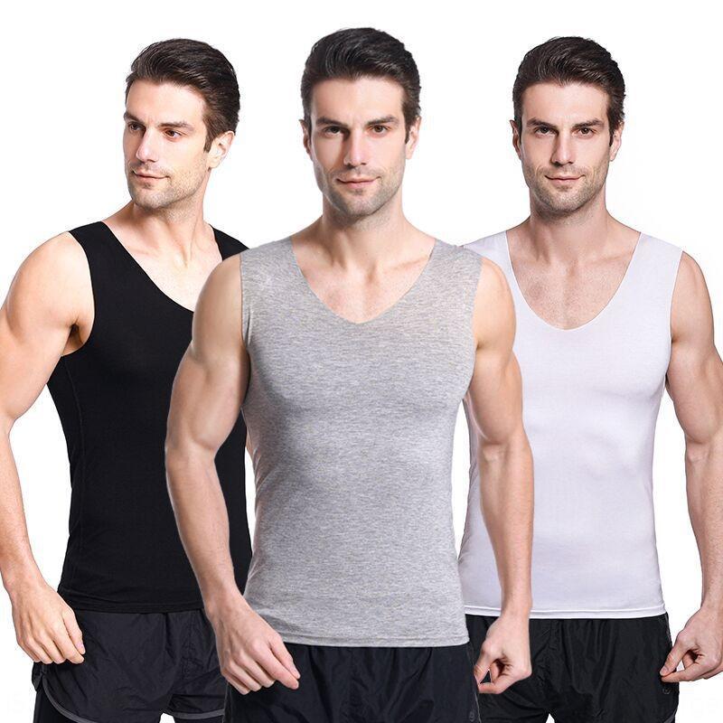 Modale Four Seasons sport gilet shirt giubbotto spalla senza maniche della camicia sottile sottile uomini Traceless vasta gilet sottile di base