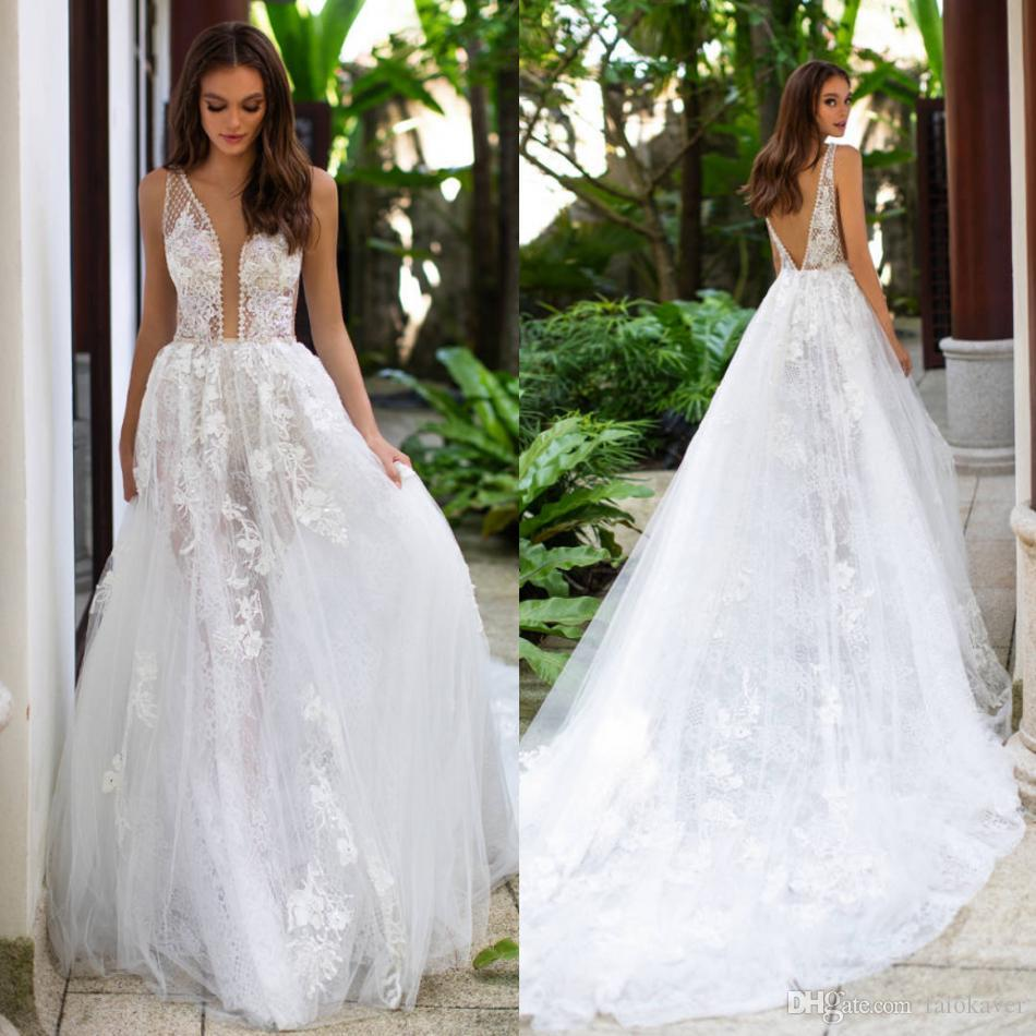 2019 Milla Nova White Wedding Dresses Lace Appliqued A Line Backless Boho Bridal Gowns Sweep Train Illusion V Neck Bohemian Wedding Dress
