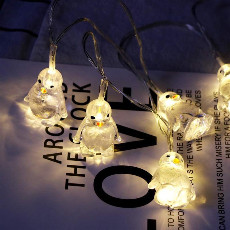 BRELONG 귀여운 작은 펭귄 동물 모양의 여러 가지 빛깔의 문자열 조명 (10) 창문, 문 및 기타 홈 장식을위한 LED