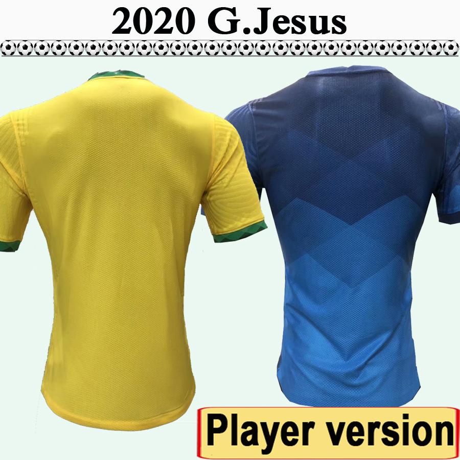 2020 Brazil P. COUTINHO G. JESUS Player version Mens Soccer Jerseys PAULINHO D.COSTA Home Away Football Shirt MARCELO COUTINHO Short Uniform