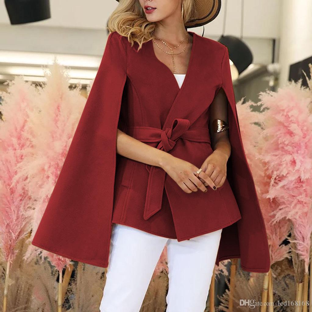 Sonbahar Kış Coat Kadınlar Moda Vintage Kemer Flare Bölünmüş Uzun Kollu Ceket Blazers Kadın Biçimsel Şık Ofis Coat Kırmızı