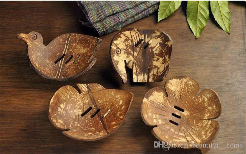 creativos platos de jabón de coco retro titular de jabón natural de almacenamiento de soporte de la bandeja de jabón contenedor de caja de la placa de bastidor de madera para el baño C6H