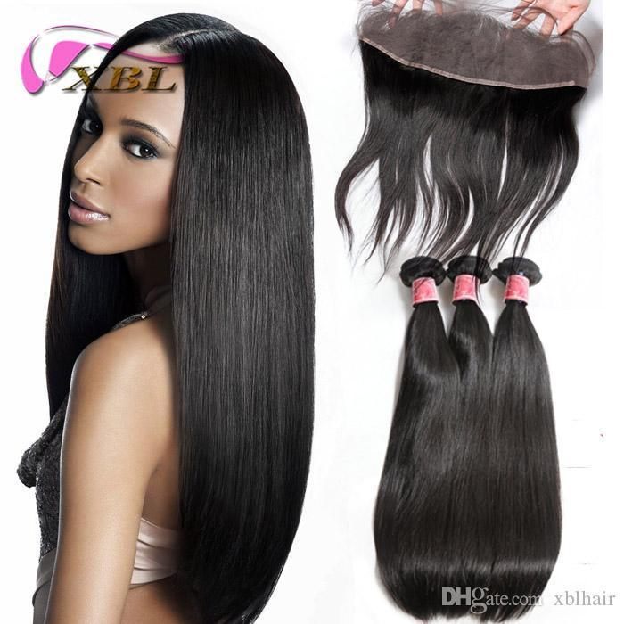 XBL Straight Human Hair Extensions Lace Frontal With Bundles Virgin Brazilian Human Hair Bundles( Lace Size 13*4.5)