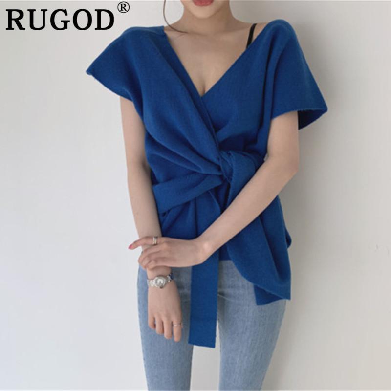 RUGOD Suéter de mujer de punto de moda Elegante coreano Cuello en V profundo manga corta suéter sólido tops