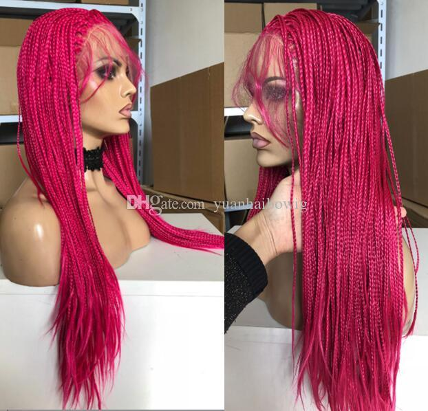 Hot Pink African American Braids Lace Front Wig Heat Resistant Synthetic Hair Wig Black Color Ombre Long Box Braid Wig for Black Woman