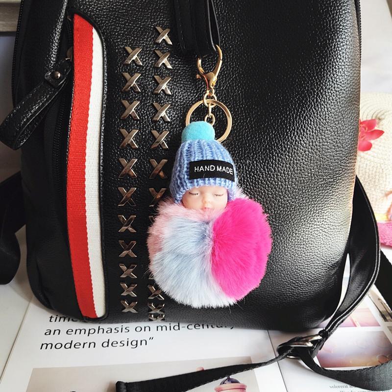 Cute Sleeping Baby Doll брелок Цветные Pompom Бал Карабин Key Chain брелоки Женщина Дети Key Holder Bag Подвеска ключ Кольцо Фавор RRA2895