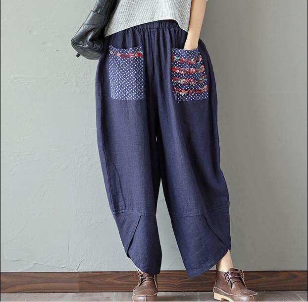 Женские брюки каприз летом свободные хлопчатобумажные льняные брюки женщин широкая нога эластичная талия винтаж женщины повседневный гарем RQ36