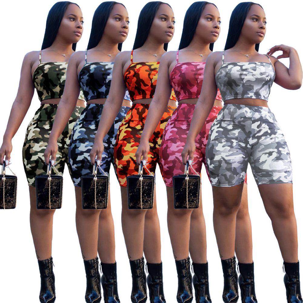 Дизайнер летних женщины костюмы Камо Печати 2 Двухкусочной Эпикировка соболезнуют пояса Tops + Шорты женской Одежда женской Спорт Tracksuit Одежды
