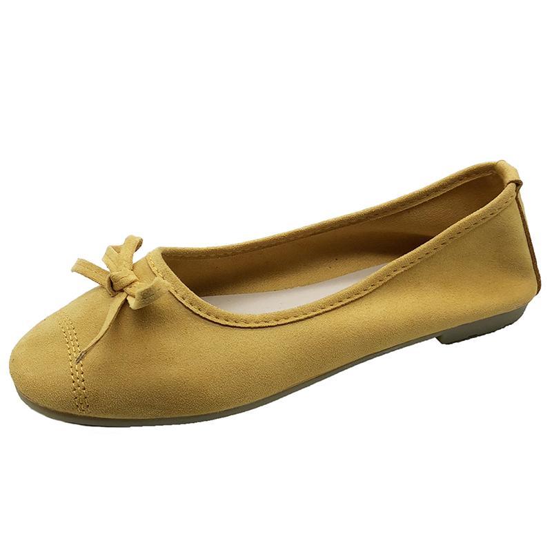 Zapatos planos para mujer Resbalón de punta redonda en la calle Fechas al aire libre Pisos de ballet de suela suave Color sólido Gamuza Zapatos de ballet Bowknot dulce para niñas