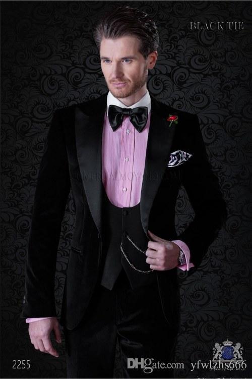 Classic Peak Lapel Wedding Tuxedos Trajes Slim Fit para hombres Traje de padrino de boda Tres piezas Trajes de baile baratos (Chaqueta + Pantalones + Chaleco + Corbata) 353