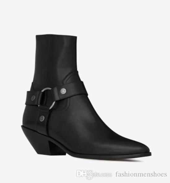 Tan Suede Leather ковбойские сапоги Коренастый Высокие каблуки Женщины лодыжки Botas пальца ноги пряжки Остроконечные Классные девушки партии обувь Chaussure Femme