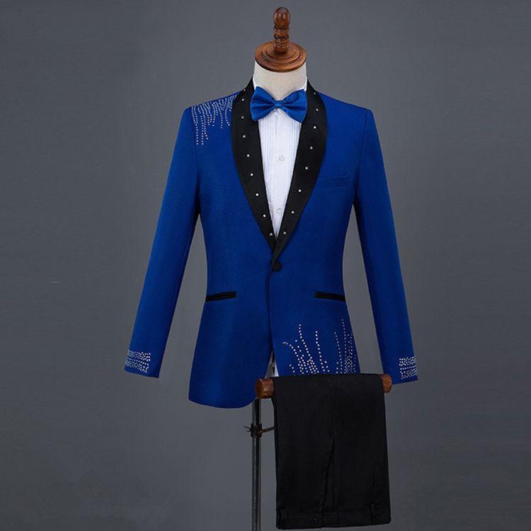 Smoking da uomo vintage smoking royal blue paillettes scialle nero bavero sposo indossare pantaloni abiti da uomo formale prom party giacche giacca (pantaloni + pantaloni)