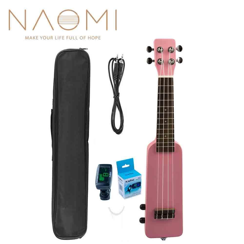"""NAOMI 21 """"Okoume Electric Ukulele Ukelele Uke Kit + Accordatore W / Gig Bag Cavo audio da 3,5 mm Silent Electric Ukulele Soprano Pink Nuovo"""
