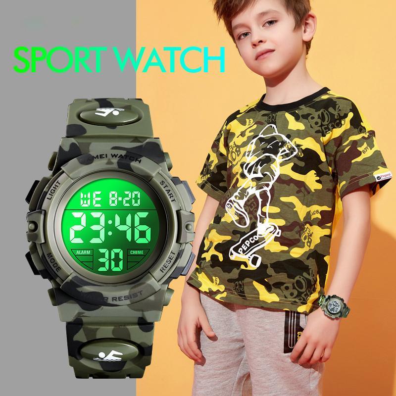 Askeri Çocuklar Spor Saatleri 50M Su geçirmez elektronik saatler Durdur İzle Saat Çocuk Dijital İzle İçin Erkekler Kızlar