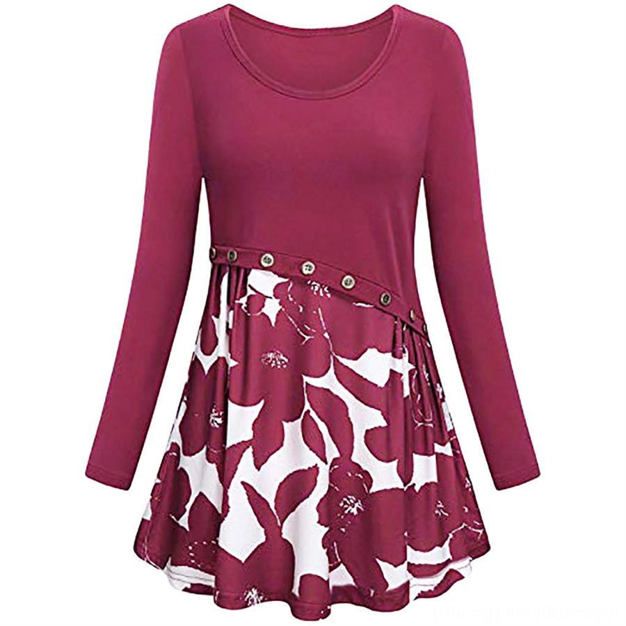 collo rotondo delle donne di autunno manicotto lungo collare stampato intorno al cucito vestito fibbia chiodo delle donne di autunno manicotto lungo stampato cucito chiodo buc