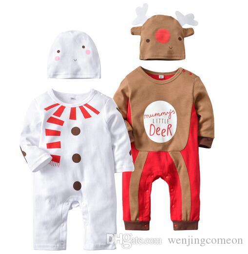 kids designer clothes boys Cute Long Sleeve Bodysuit Christmas Cartoon Pattern For Baby Casual Infant Rompers With Hats