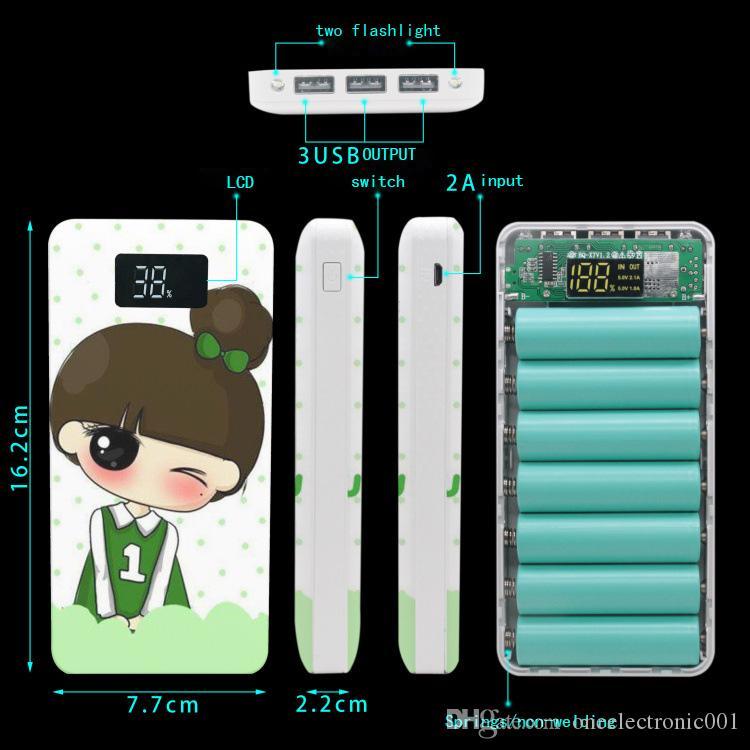 Новый 2019 2USB 7x 18650 DIY портативный аккумулятор мультфильм персональный Power Bank Case Box Case ЖК-дисплей 2x фонарик без батареи нет сварки