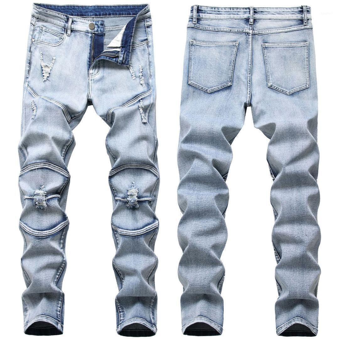 Slim Hole Mens Jeans Fashion Light Blue Casual Mens Pants Folds Light Wash Frayed Male Clothing Elastic