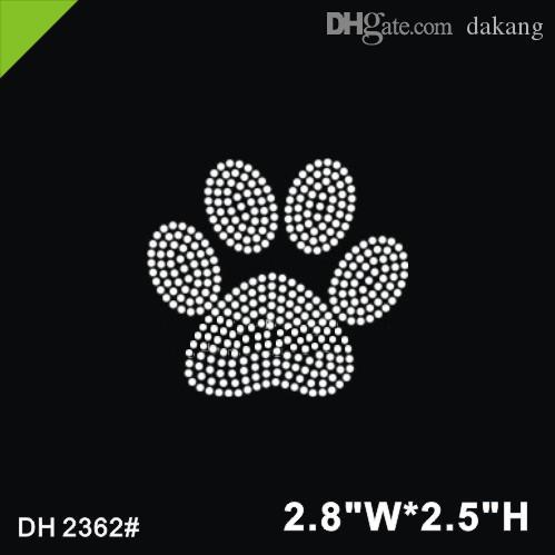 Lote de envío gratis La impresión de la pata del oso diseño hot fix rhinestone Diseño de transferencia de calor hierro en motivos Scrapbooking diy accesorios DH2362 #