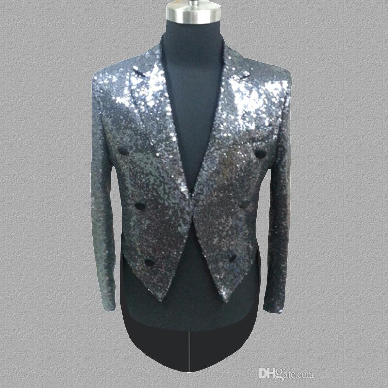 Silver sequins blazer men suits designs jacket mens stage costumes for singers clothes dance star style dress punk masculino
