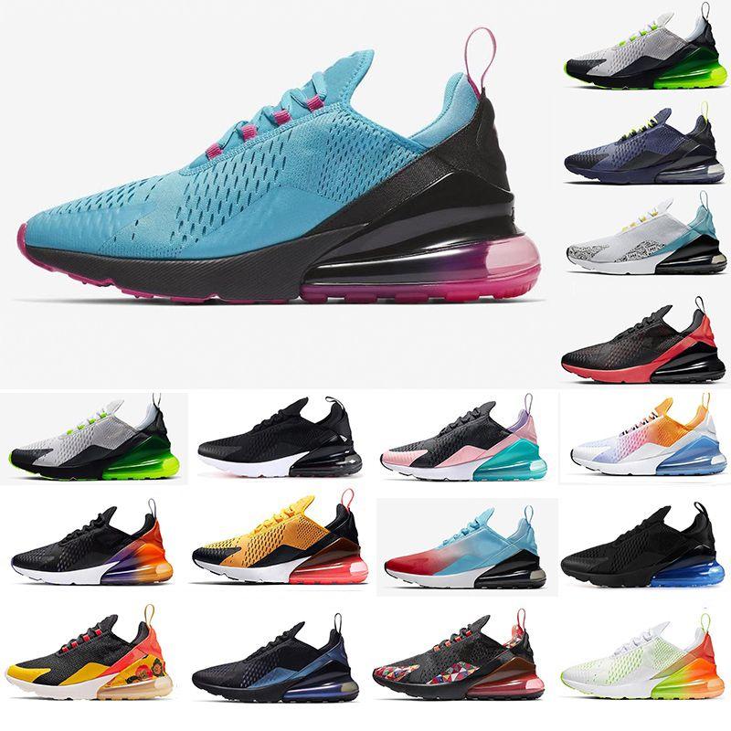 Nike Air max 270 New coussin d'air Chaussures de course de grande taille 36-49 Run Sneakers Triple Noir South Beach Hot punch Hommes Baskets Mode Femmes Chaussures Runner nous 13