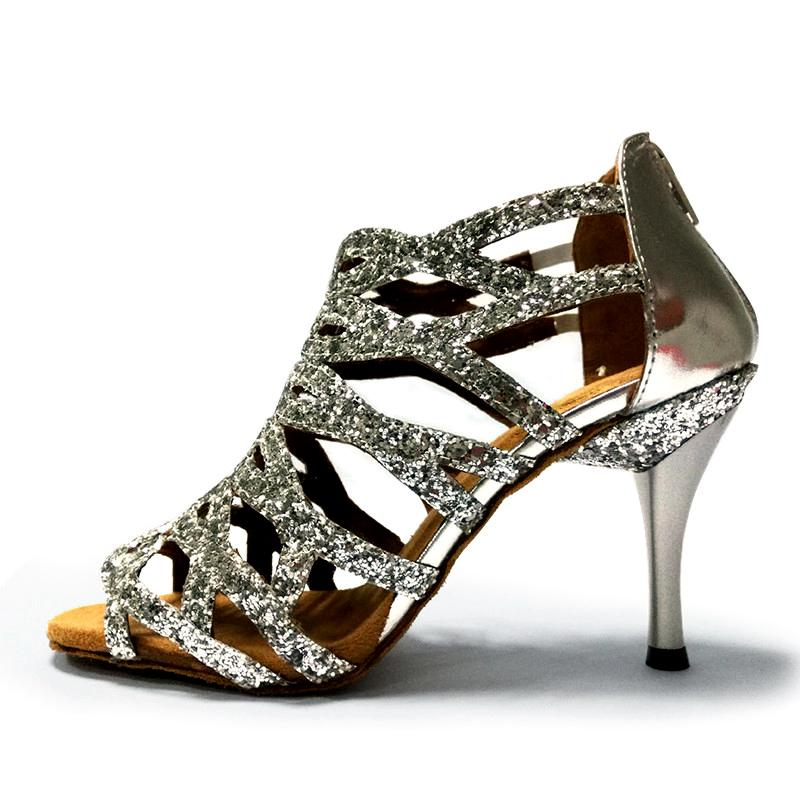 HXYOO Fashinable Argent Red Shine Black Purple Girls 8,5 cm talon chaussures de danse latine Salsa Salle de bal pour dames Chaussures pour la danse ZC05