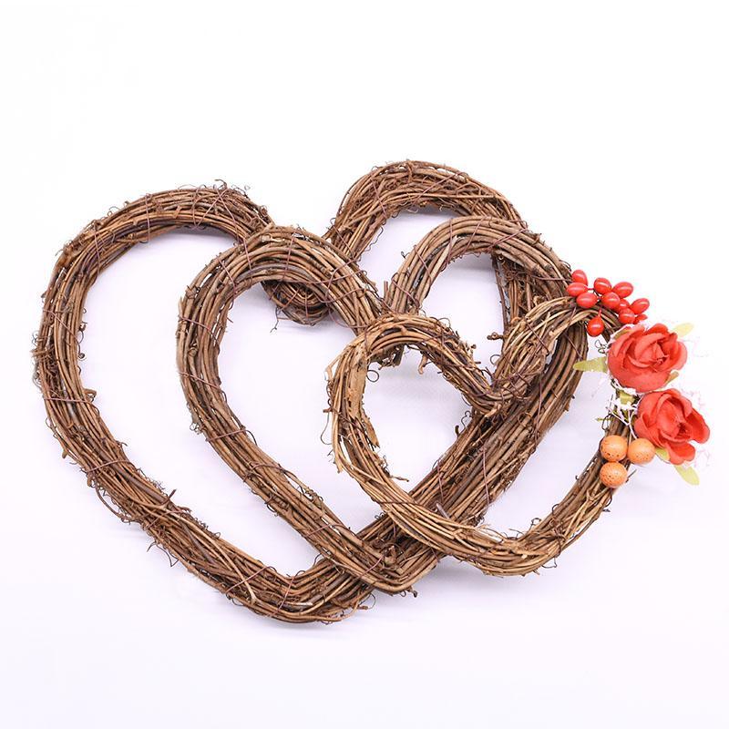 10-30cm Amor do Natal Rattan grinalda do coração Pendant para a festa de casamento decoração Home DIY Handmade Rattan Garland Craft