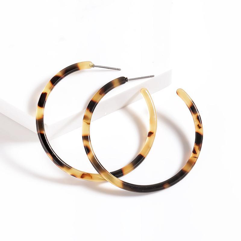 Vintage Hoop Küpe Bağa Akrilik Küpe Yuvarlak C şeklindeki Basit Küpe Moda Kişilik Eardrop Seksi Leopard Hediye