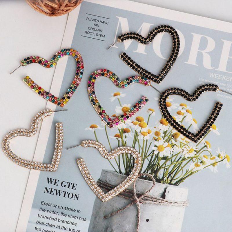 Strass orecchini a cerchio grande cuore colorato a forma di open day del cerchio ciondolano l'orecchino delle donne di San Valentino regali di amore Eardrop 3 colori X35FZ