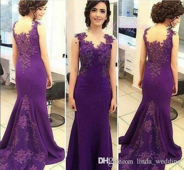 2019 Sirena Vestido de noche largo Púrpura Apliques de encaje Desgaste formal Día de fiesta Vestido de fiesta de graduación por encargo más tamaño