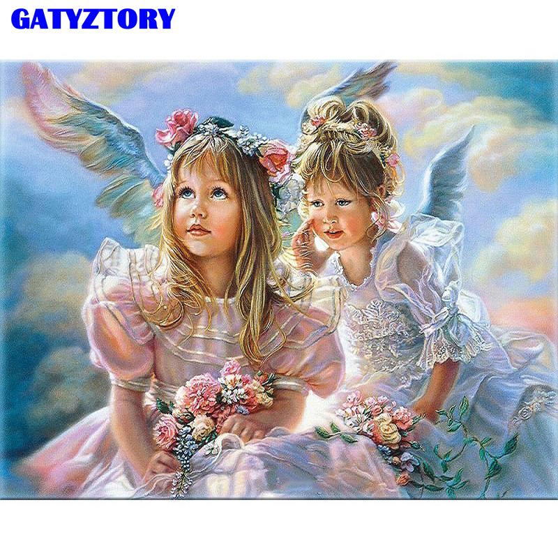 Frameless Angel Girls DIY Painting By Numbers Figure Painting Acrylic Picture Kits Paint By Numbers Unique Gift For Wall Artwork