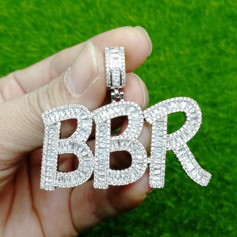 Nom personnalisé lettres en laiton CZ pendentif Glacé Hip Hop Hommes Collier Bijoux Cadeau CP03