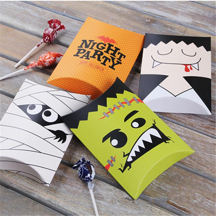 Wholesale 14*10*2.8cm Halloween Candy Box Cookie Biscuit Dessert Packing Box Halloween Party Decor Free Shipping