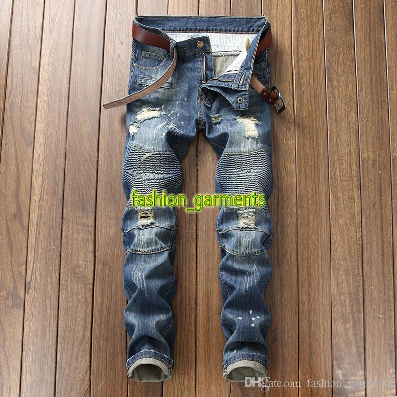 Moda de Nova Mens estilista Jeans Nostálgico motocicleta jeans reta calças patch Hip Hop Tendência Personalidade Jeans