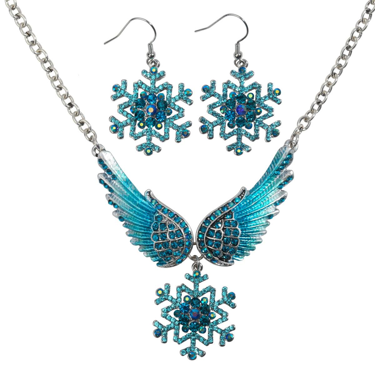 Flocon de neige aile collier boucles d'oreilles ensembles bleu blanc Noël vacances ornements cadeaux pour les femmes filles cristal bijoux de mode