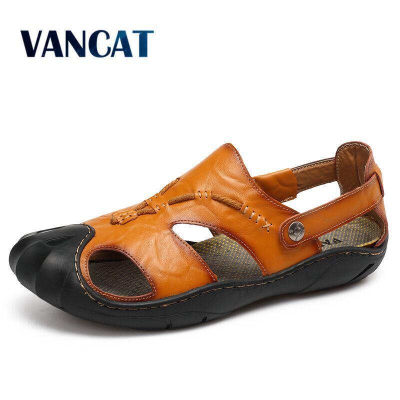 VANCAT para hombre sandalias de cuero sandalias de la playa de los hombres a estrenar de los zapatos ocasionales del cuero genuino de Split zapatillas de deporte de los hombres zapatillas hombres del verano