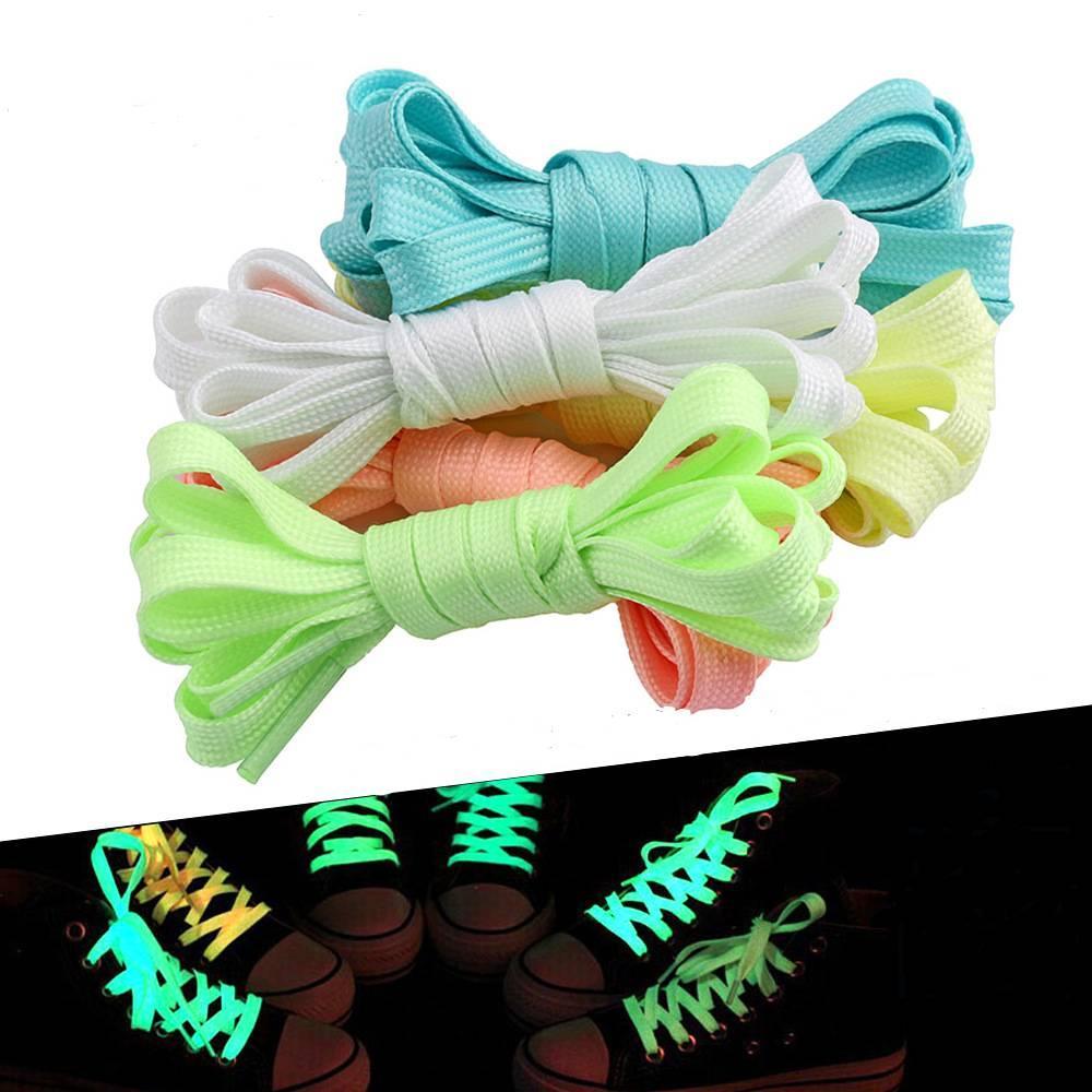 Luminous Lacci piatto Sneaker Shoe Lace piatto stringa di scarpe per la scarpa da tennis di sport atletico piatto scarpe Laces Laces Boot Glow In The Dark Night