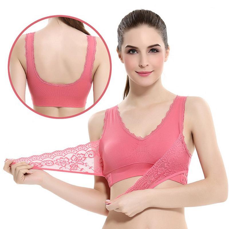 Empurre mulheres Sports Bra Sexy Lace Brathable Sports Top Up Exercício fêmea da aptidão Roupa interior Correndo Yoga à prova de choque Vest