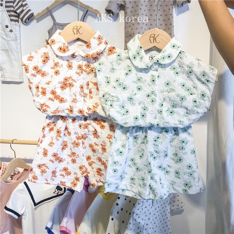 2020 New Style Girls 2 PCS Set Printed Shirt+Shorts Cotton Summer Kids Girls Suits 1-6 Years