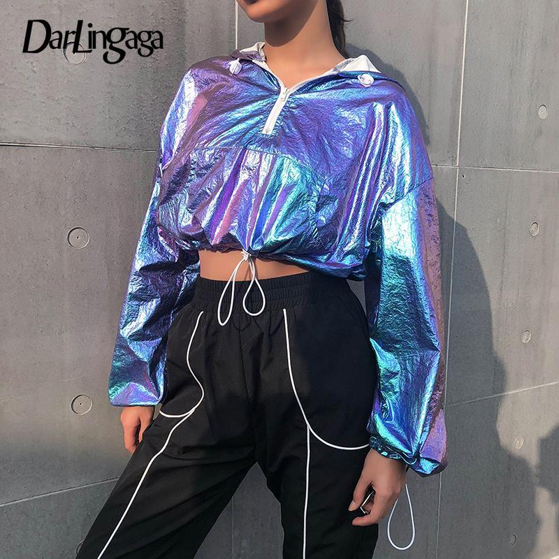 Darlingaga coloridos hoodies tecido Doce mulheres zíper de bling cintura elástica moletom bordado moletom cultura club partido superior do hoodie Y200610