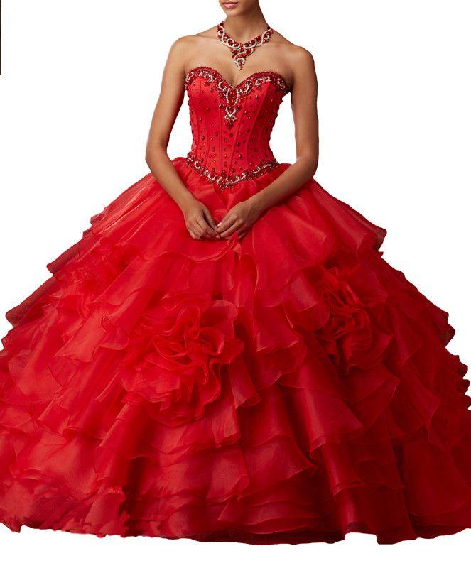 فساتين Quinceanera طوق مثير على شكل قلب ، أحمر يوجين الغزل ، الذيل ، تنورة رقيق ، صدرية ، حزام الظهر اليدوية الثقيلة ، حزمة مخصصة