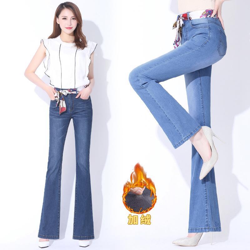 Şangay Yeni Avrupa 2020 Kış Boot-Cut Jeans artı Kadife Bell-bottom Pantolon Sang