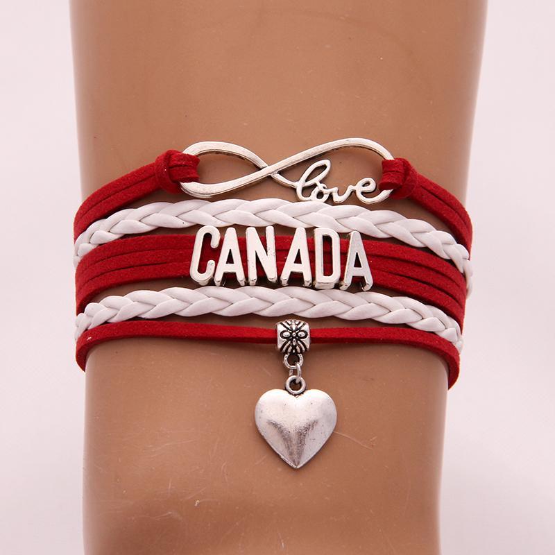 Infinity Love Canada-Armband-Armband-Herz-Charme flocht PU-Leder Männer Frauen Armbänder modische Schmucksachen New Drop Shipping