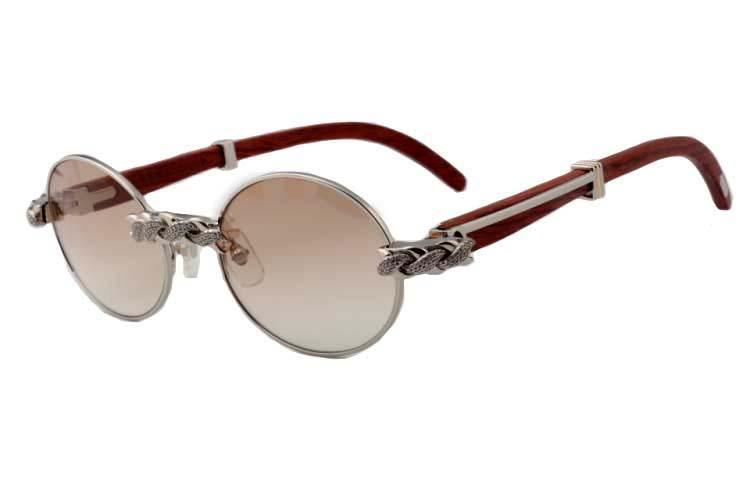 Atacado-2019 New Retro Moda Rodada Diamante Óculos De Sol 7550178-B Natural De Madeira De Luxo Luxo Óculos De Sol Óculos Tamanho: 55/57 -22-135mm