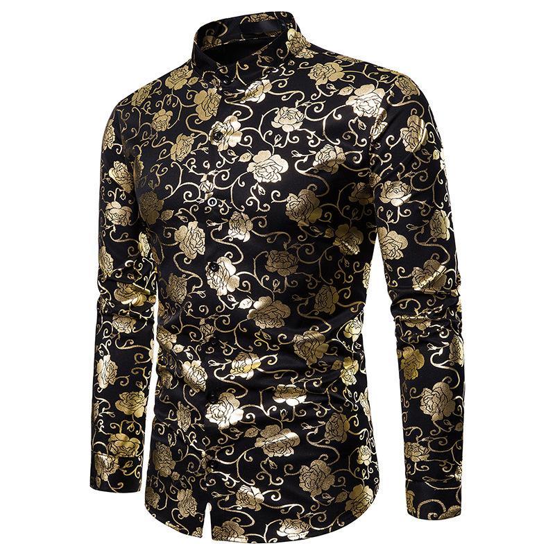 Золотой розы Фольга печати Рубашка Мужчины Brand New Повседневный Бизнес Свадьба Смокинг рубашка для мужчин