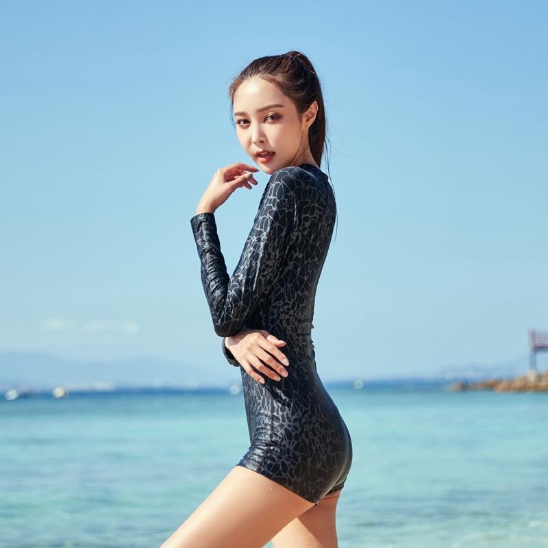 Femme boxeur à manches longues joint en effet noir romantique confortable sexy maillot de bain maillot de bain zipper Jumpsuit conservateur