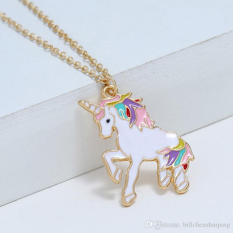 Fashion HORSE Animal Pendant Necklace Womens Girls Kid Enamel Chain Jewelry Gift