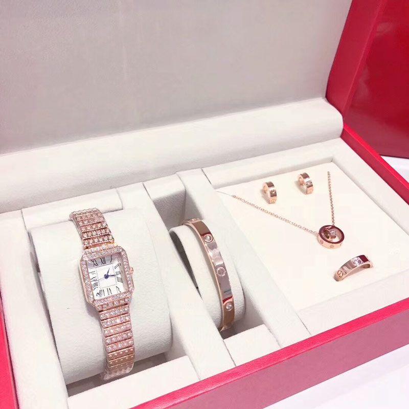 Moda kadın 5 setleri Sevgiliye Hediye bayanlar için kutu dişi elbise elmas saatler ile yüzük küpe izle kolye bilezik içerir